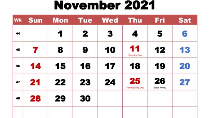 November 2021 Printable Calendar Template